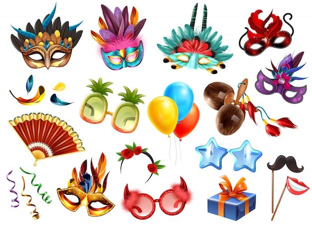 L'insieme variopinto realistico degli accessori degli attributi di celebrazione di festival di travestimento di carnevale con i presente maschera l'illustrazione di vettore dei palloni delle piume di vetro delle maschere