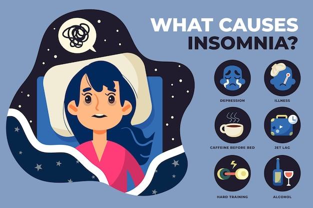 L'insonnia causa il concetto di illustrazione