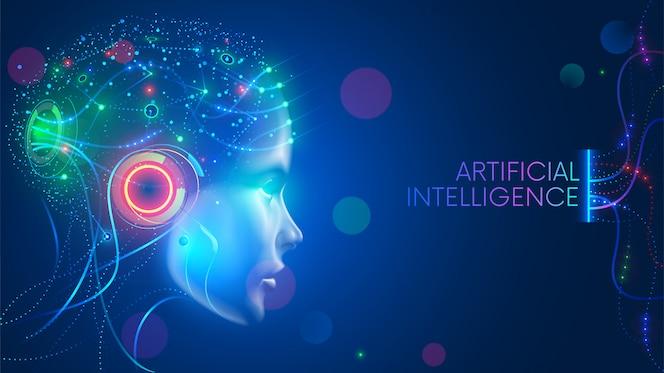 L'intelligenza artificiale nella testa umanoide con la rete neurale pensa. ai con cervello digitale