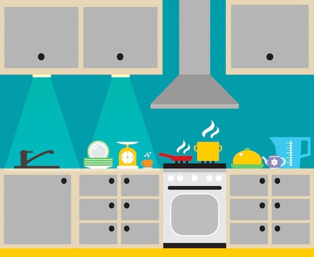 L'interiore moderno della cucina con la mobilia e la famiglia dell'attrezzatura della famiglia vector l'illustrazione