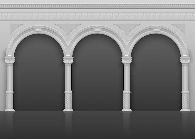 L'interno antico romano classico con gli archi e le colonne di pietra vector l'illustrazione