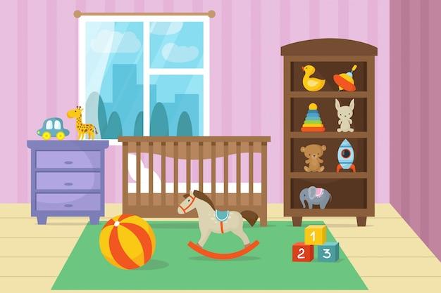 L'interno della stanza dei bambini del fumetto con il bambino gioca l'illustrazione di vettore