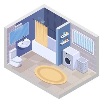 L'interno isometrico del bagno con le facilità e la mobilia sanitarie realistiche con l'essiccatore dell'asciugamano della lavatrice e l'illustrazione di vettore del tappeto