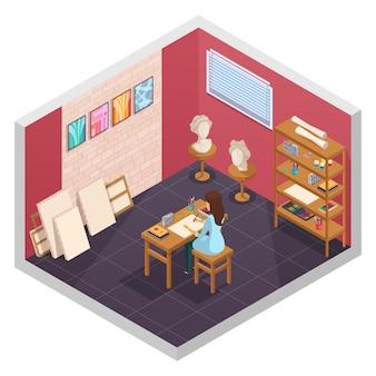 L'interno isometrico dello studio di arte con gli scaffali interni dei materiali della pittura della stanza d'istruzione e il carattere femminile all'illustrazione di vettore della tavola