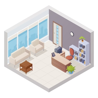 L'interno isometrico di ricezione dell'ufficio con lo scrittorio e le sedie per gli ospiti vector l'illustrazione