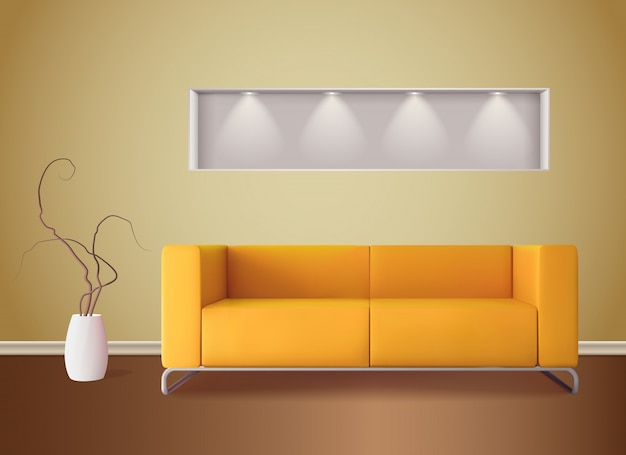 L'interno moderno del salone con il sofà di colore del cereale luminoso e le tonalità morbide ingialliscono l'illustrazione realistica della parete