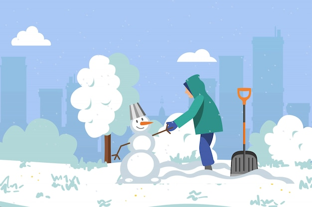 L'inverno intorno al parco, la neve del lotto, i bambini fa il pupazzo di neve, le belle, nevicate pulite luminose, illustrazione del fumetto.