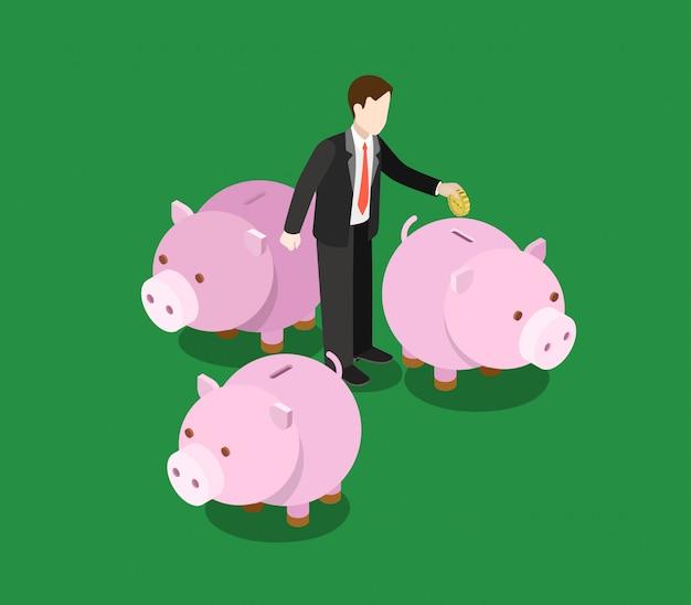 L'investitore che prende la decisione sceglie investe l'illustrazione isometrica di concetto di risparmio monetario dei soldi del settore. l'uomo d'affari mette la moneta nel salvadanaio del porcellino salvadanaio