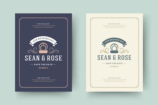 L'invito di nozze salva l'illustrazione elegante tipografica di vettore del modello della carta di data.