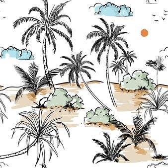 L'isola e le palme passano la linea di schizzo del disegno a mano in senza cuciture