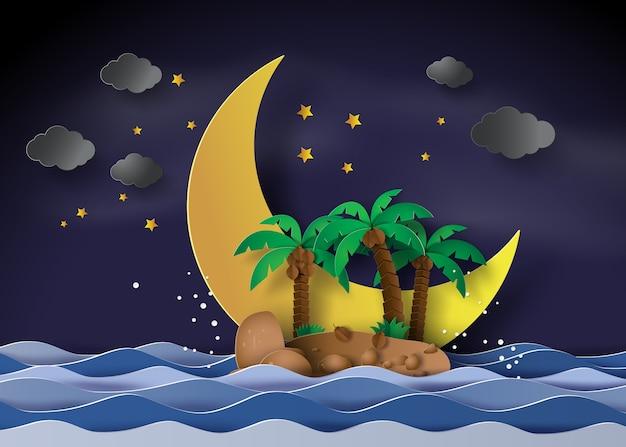 L'isola nella mezzanotte con mezza luna