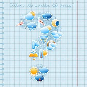 L'istituto universitario ha quadrato le etichette di simboli di previsioni del tempo del giorno della pagina del taccuino e l'estratto della composizione nello schizzo dell'inchiostro della penna