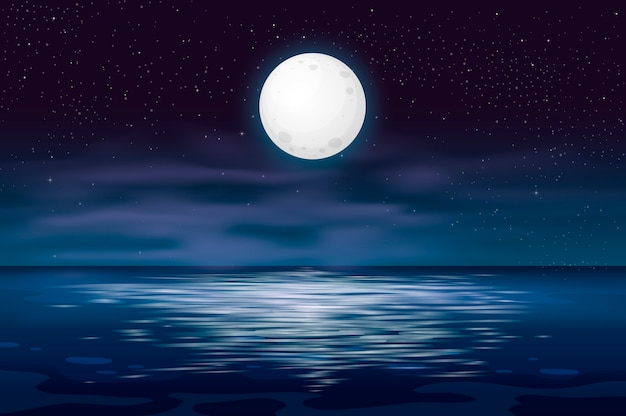 L'oceano o il mare. cielo con nuvole e riflesso della luce nella superficie dell'acqua, fantasia romantica sullo sfondo di una scena naturale. illustrazione del fumetto