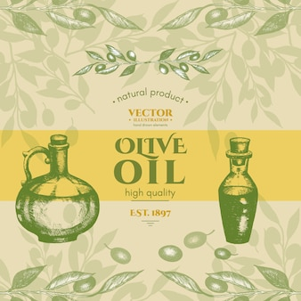 L'olio d'oliva identifica il retro vettore d'annata di stile