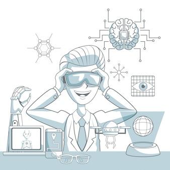 L'ombreggiatura delle sezioni di colore della siluetta della scena dell'uomo con i vetri di realtà virtuale e gli elementi dell'icona futuristici