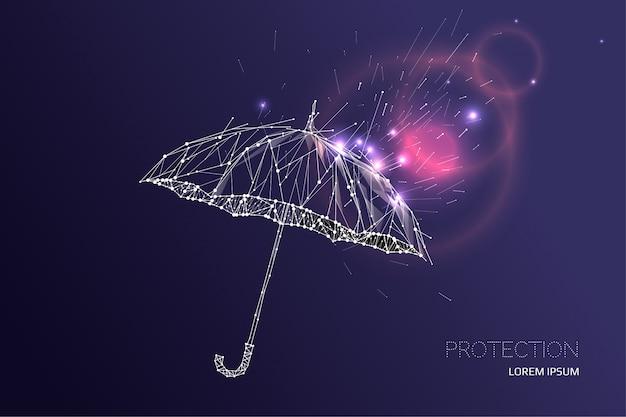 L'ombrello sotto la pioggia effetto cadente