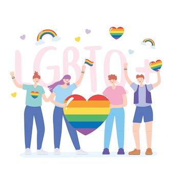 L'omosessualità lgbtq e la comunità protesta le persone con l'illustrazione delle bandiere arcobaleno