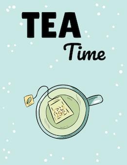 L'ora del tè. tazza di tè verde cartolina sveglia di stile del fumetto disegnato a mano