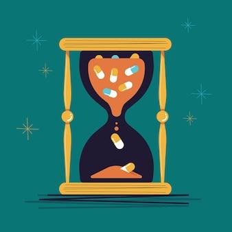 L'ora di vetro piena di illustrazione di medicina.