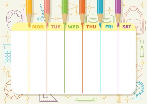 L'orario scolastico o il pianificatore settimanale con le matite colorate disegnano linee colorate su carta giallo chiaro con elementi artistici di scuola e classe