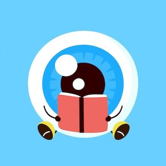 L'organo felice sorridente sveglio del bulbo oculare ha letto il libro. personaggio dei cartoni animati piatto illustrazione. occhio con il concetto di personaggio del libro