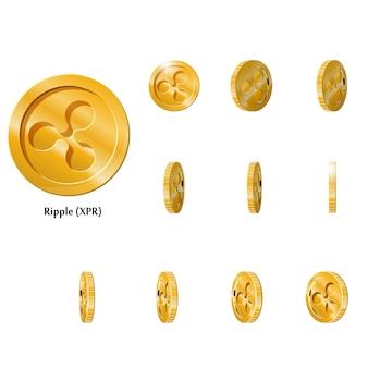 L'oro ruota le monete dell'ondulazione