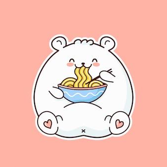 L'orso bianco divertente felice sveglio mangia la tagliatella dalla ciotola.