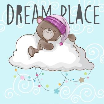 L'orso del bambino dorme sull'animale disegnato a mano della nuvola