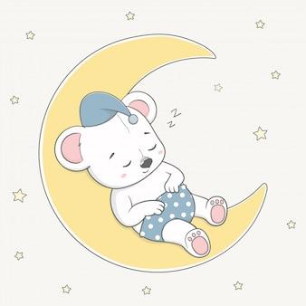 L'orso sveglio del bambino dorme sul fumetto della luna disegnato a mano