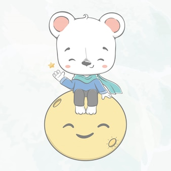 L'orso sveglio del bambino si siede sull'illustrazione disegnata a mano del fumetto di colore di acqua della luna