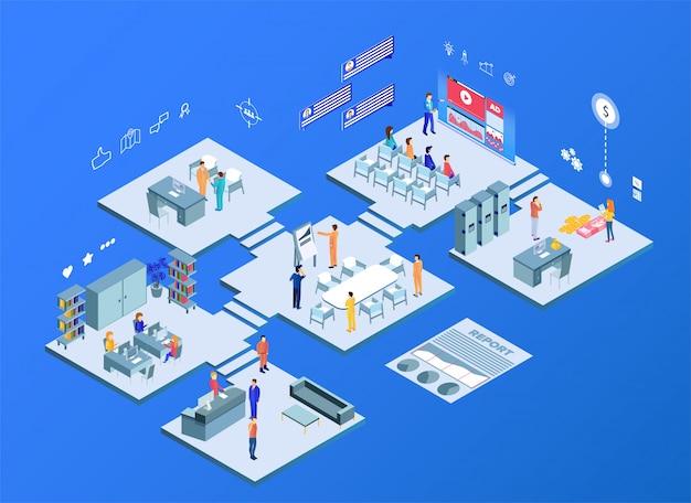 L'ufficio virtuale con gli uomini d'affari lavorano insieme