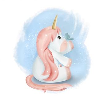 L'unicorno del bambino incontra la farfalla