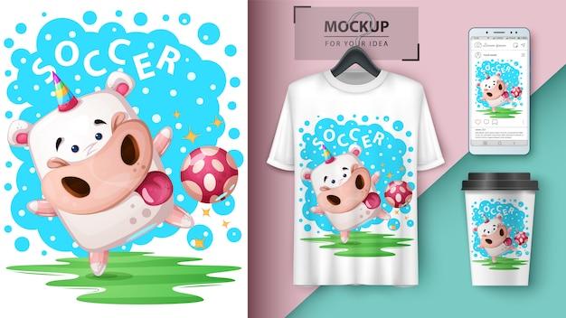 L'unicorno gioca a calcio poster e merchandising