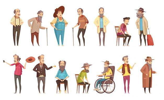 L'uomo anziano disabile i cittadini con le retro insegne delle icone del fumetto della canna da passeggio messe isolate
