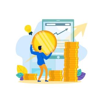 L'uomo apporta un contributo in denaro alle imprese