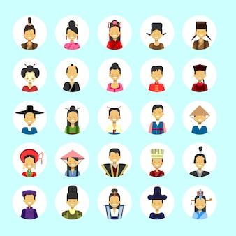 L'uomo asiatico e l'avatar della donna hanno messo il maschio femminile dell'icona nella raccolta tradizionale del ritratto di profilo del costume