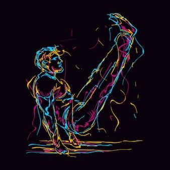 L'uomo astratto di forma fisica che fa v si siede l'illustrazione