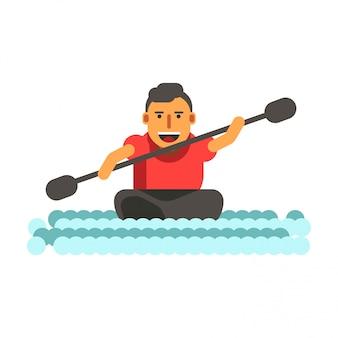 L'uomo atletico nuota sulla canoa nera del kajak del singolo-posto isolata