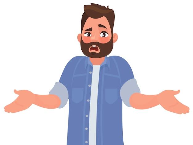 L'uomo barbuto allarga emotivamente le mani.