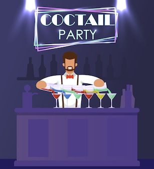 L'uomo barista in abito formale sta al bancone bar