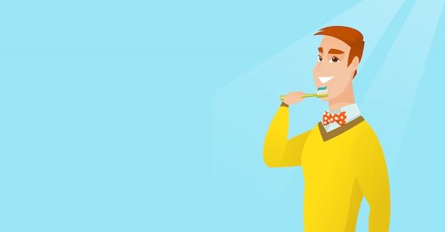 L'uomo che spazzola i suoi denti vector l'illustrazione.