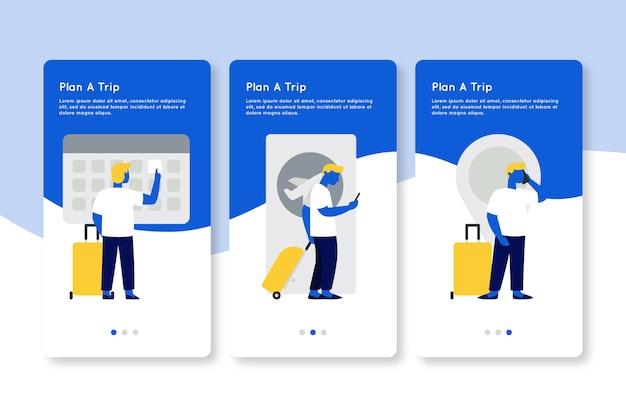 L'uomo con le schermate delle app per l'imbarco dei bagagli