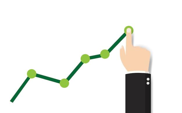 L'uomo d'affari alza il grafico finanziario della mano
