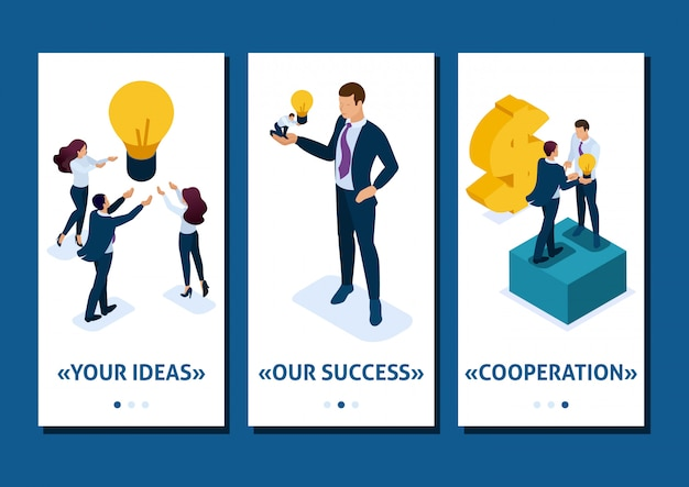 L'uomo d'affari app isometrica modello offre un'opportunità di investimento, investendo in una startup, crescita aziendale, app per smartphone. facile da modificare e personalizzare