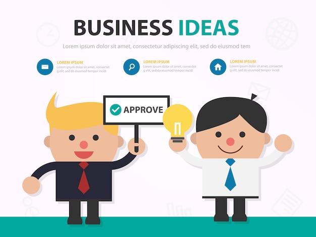 L'uomo d'affari approva idea infografica