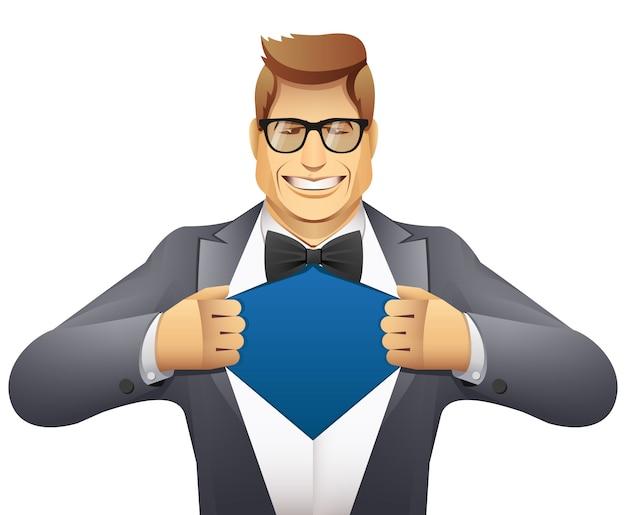 L'uomo d'affari apre la sua camicia. supereroe