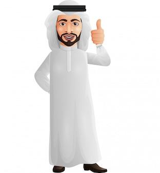 L'uomo d'affari arabo che mostra i pollici aumenta il segno
