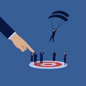 L'uomo d'affari cade a bersaglio da paracadutismo. scelta giusta per il manager.