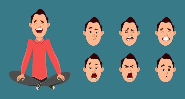 L'uomo d'affari che fa yoga o rilassa la meditazione. carattere di uomo d'affari con diverso tipo di espressione facciale