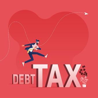 L'uomo d'affari che salta sopra il debito e la tassa che superano il concetto di debito e tassa